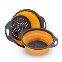 Colador plegable de silicona para lavar vegetales y frutas, colador de cesta plegable con utensilios de cocina con mango