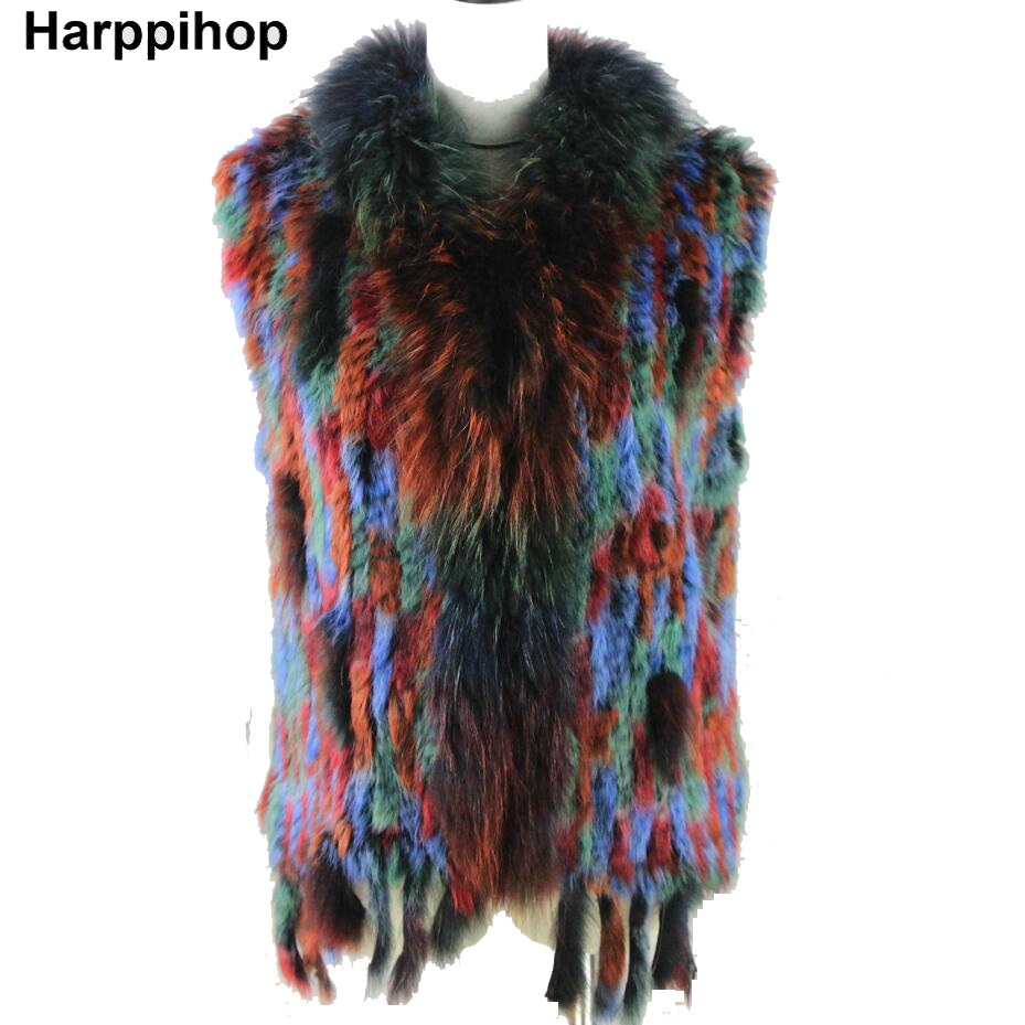 Harppihop*Women Genuine Knitted Rabbit Fur Vests with tassels Raccoon Fur Trimming Waistcoat wholesale drop shipping
