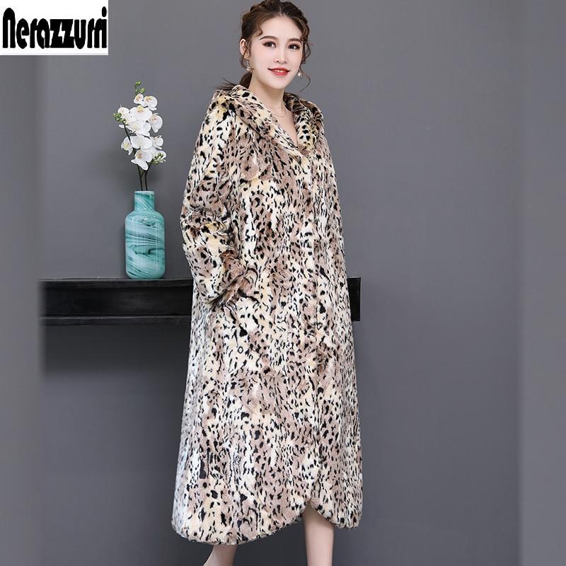 d513c9f360 Nerazzurri Winter faux fur leopard print coat women with hood fluffy furry  warm plus size luxury fake fur overcoat 5xl 6xl 7xl-in Faux Fur from  Women s ...