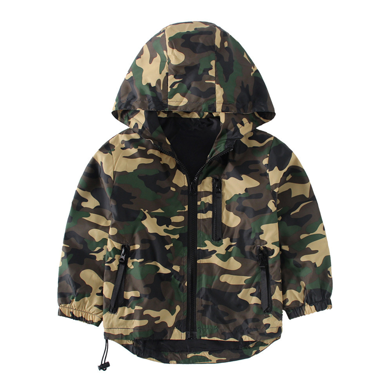 Military Camouflage Jacket Cool Boy Street Hooded Coat Hip Hop juvenile kids clothes Spring autumn Children Clothing 4-8Y
