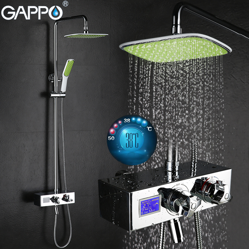 GAPPO Wall Mounted bath shower faucet tap Chrome LCD Digital Temperature shower tap mixer Torneira de chuveiro  Sanitary Ware gappo classic chrome bathroom shower faucet bath faucet mixer tap with hand shower head set wall mounted g3260