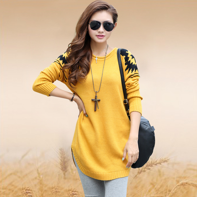 2015 spring Women\u0027s loose plus size sweater ladies casual pullover long  sweater women knitted sweater w158 yellow blue pink,in Pullovers from  Women\u0027s