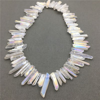 MY0582 Natural Raw Crystal Titanium White Quartz Stick Beads,Spike Point Top Drilled Necklace Making Beads