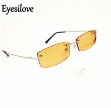 Eyesilove finished rimless myopia glasses Nearsighted sunglasses Myopia sun glasses ultra-light brown color lenses -1.0 to -6.0