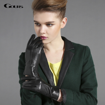Gours Winter Genuine Leather Gloves for Women Black Goatskin Finger Gloves New Arrival Fashion Brand Warm Mittens GSL031 brand russian winter women warm fashion gloves female genuine leather mittens 100