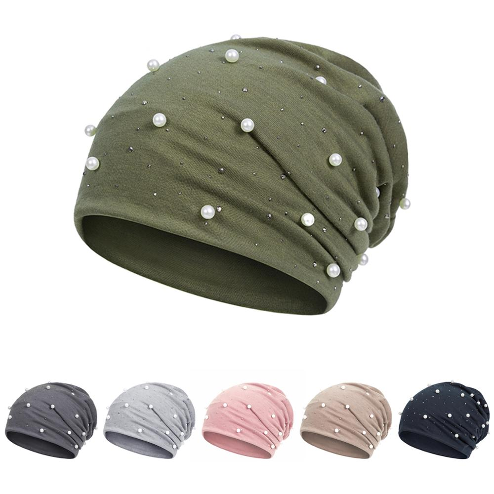 Solid Color Women Skullies Beanies Pearl Female Ladies Winter Soft Warm Cotton Hats