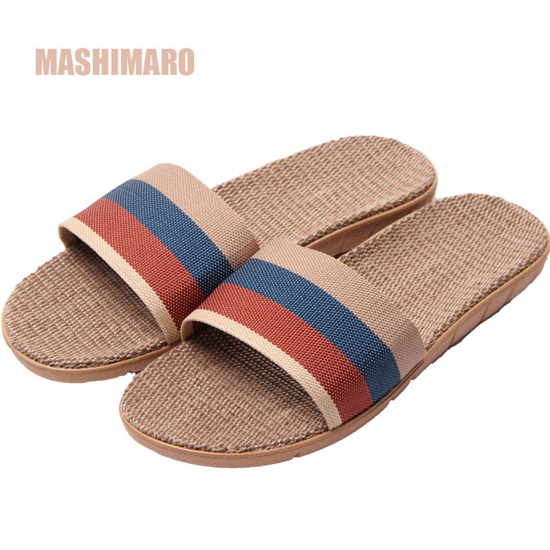 Mashimaro Men's Summer Linen Silppers Breathable Non-slip Fashion Home Slippers Men's Hemp Basic Slides Beach Slippers Hot 40-45 детская обувь для дома mashimaro 2015