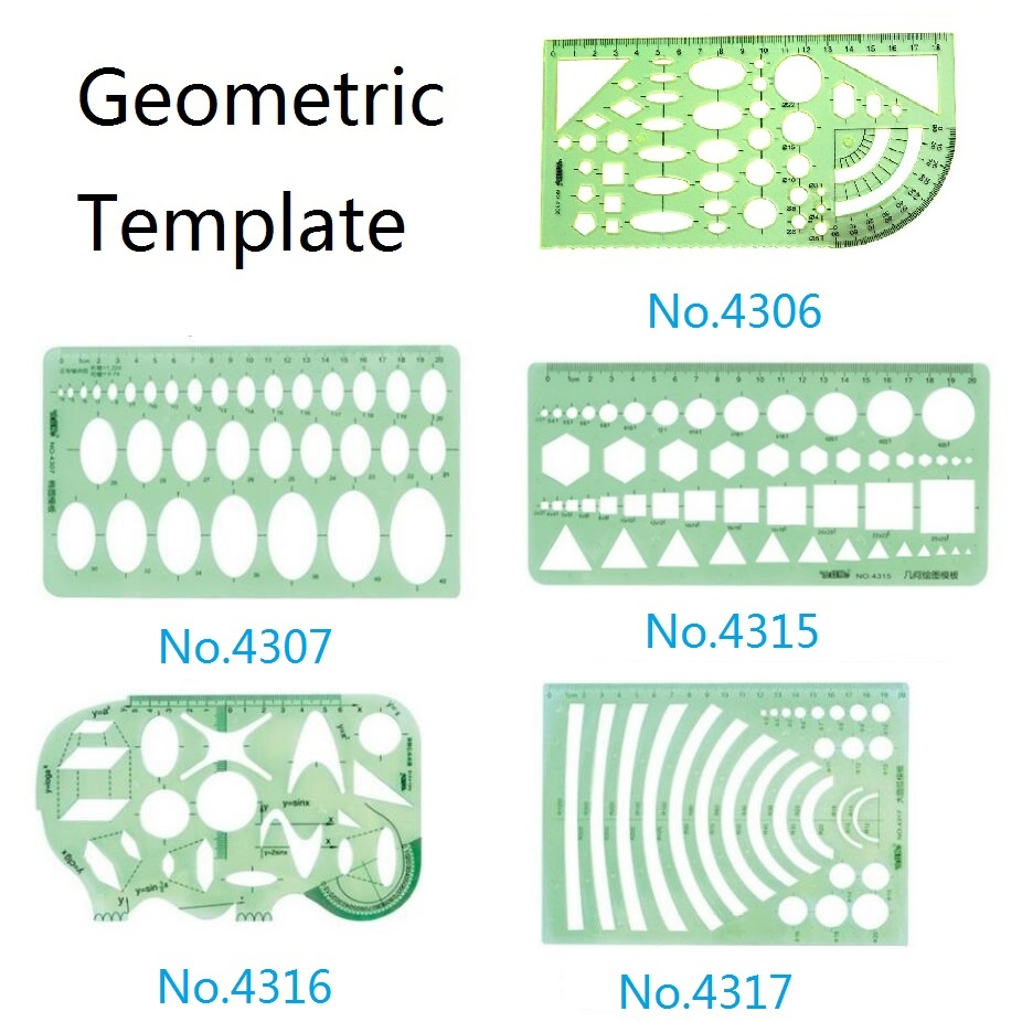 Plastic Geometric Template Ruler Set Circle,Oval,Arc,Triangle,Hexagons Templates Ruler No.4306/4307/4315/4316/4317