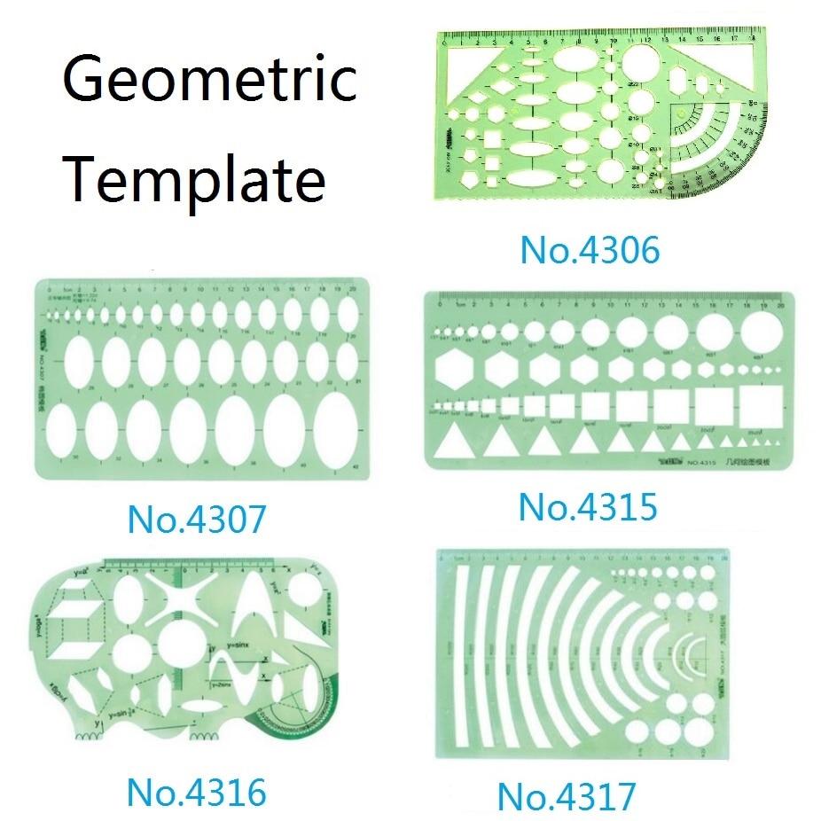 Plastic Geometric Template Ruler Set Circle,Oval,Arc,Triangle,Hexagons Templates Ruler No.4306/4307/4315/4316/4317