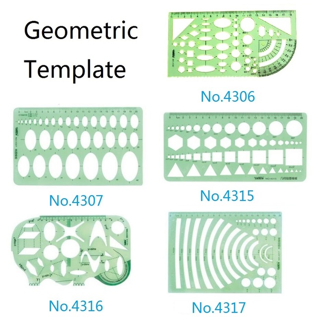 Plastic Geometric Template Ruler Set Circle,Oval,Arc,Triangle