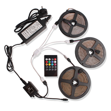 2835 15M 5M RGB LED Strip 12V Waterproof Ribbon Tape Flexible Neon LED Light with RGB Music Controller Power Adapter Living Room