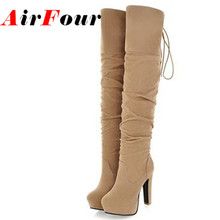 Airfour Big Size 43 High Heels Over the Knee Boots for Women Flock Tassel Ladies Long Boots Women's Winter Platform Boots Shoes
