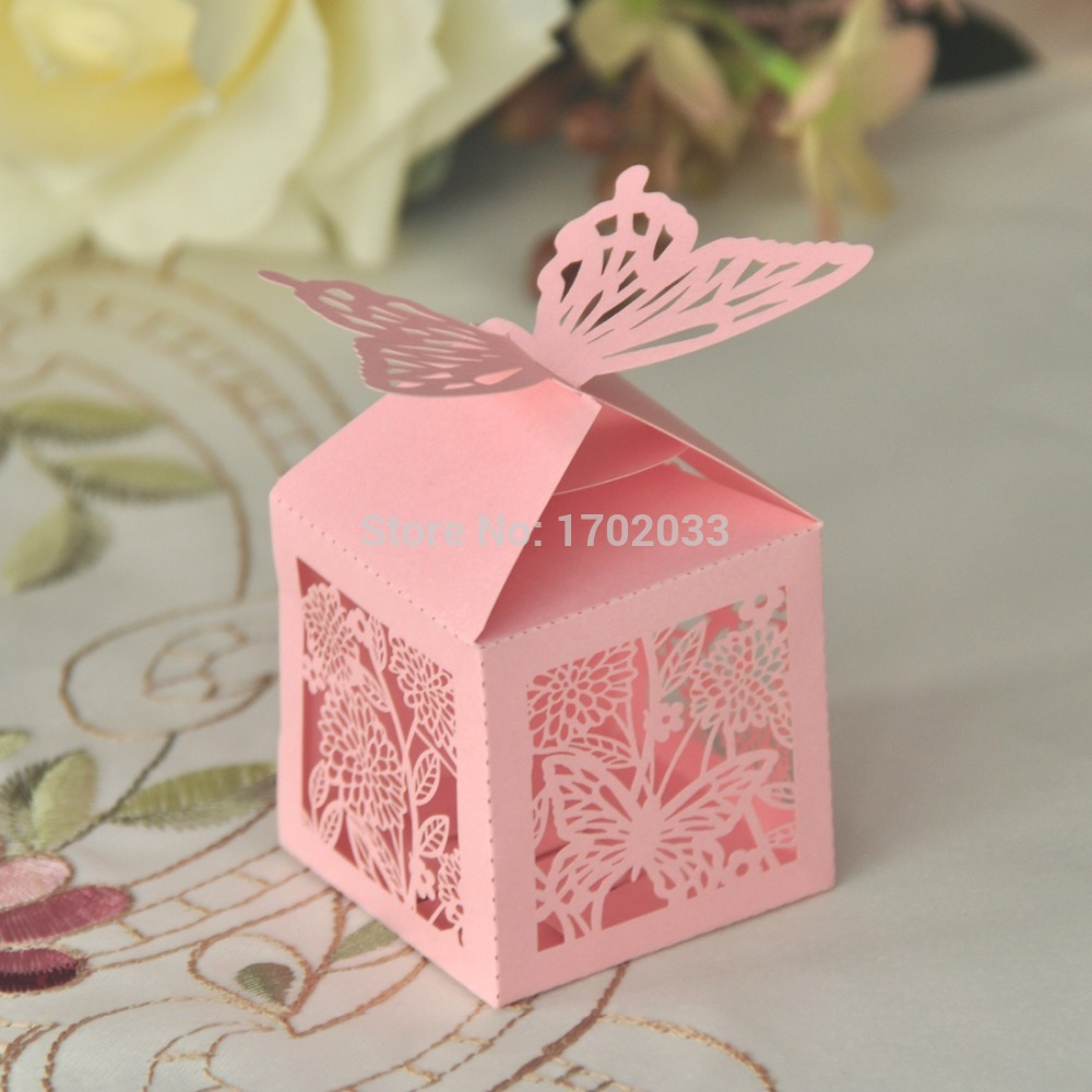 ᗚLaser Cut Hollow out Pink Butterfly Paper Ribbon Candy Box Party ...