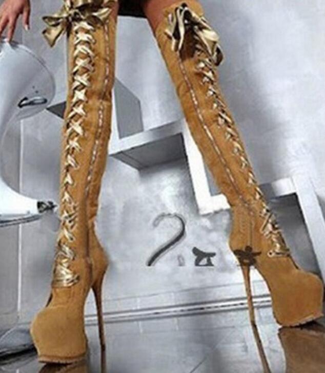 Pictures Cours Rond Noir Épais forme Pour Bout Talons Lace Chaussures Mode up Super Dames Abesire Femmes Filles Glissière Latérale Genou as Bottes Haute Plate PEw1gW6Cxq