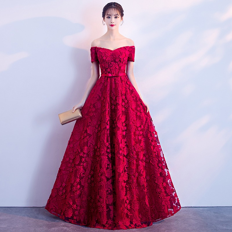ce496e00738 Elegante vino rojo vestidos de noche largo cuello Barco de la piso-longitud  hombro de