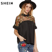 SHEIN Summer Tops Black Flower Embroidered Sheer Neck Ruffle Cuff Tie Back Top Woman Short Sleeve Vintage Blouse