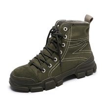 High Top Female Sneakers Under Armor Green Walking Shoes Comfortable Lace up Sport Women Rubber Outdoor Trekking Boots 40