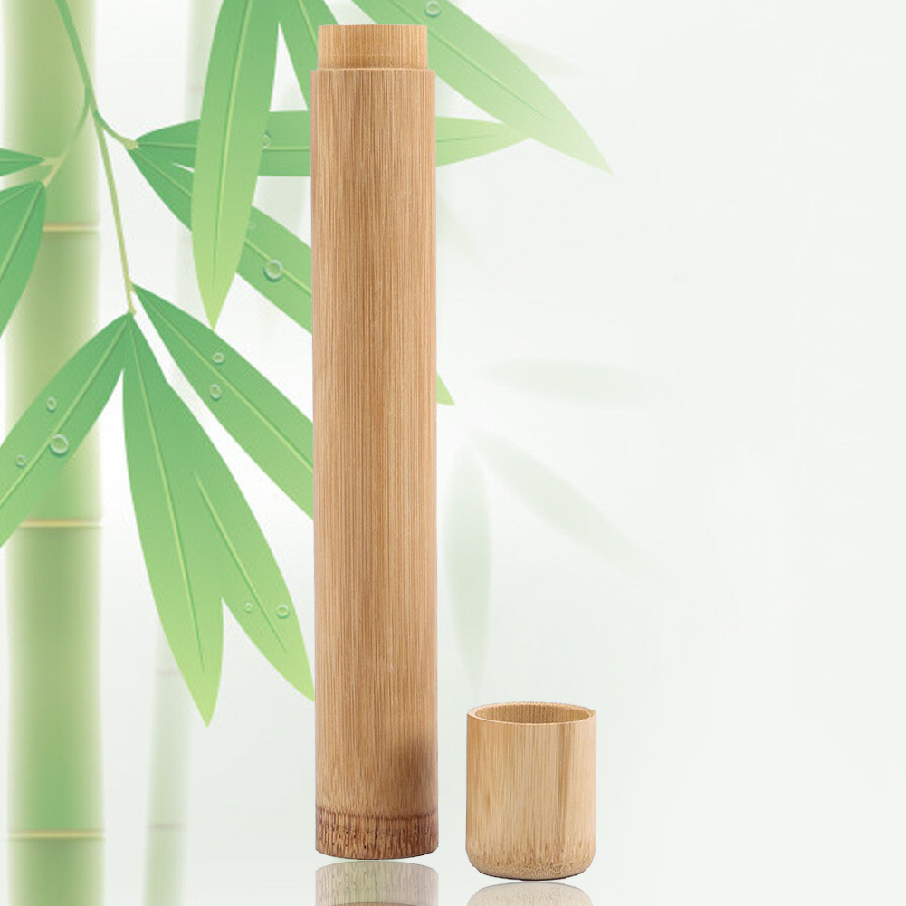 Storage Travel Eco Friendly With Lid Organizer Bathroom Multifunctional Case Tube Shape Toothbrush Holder Carrier Bamboo Home image