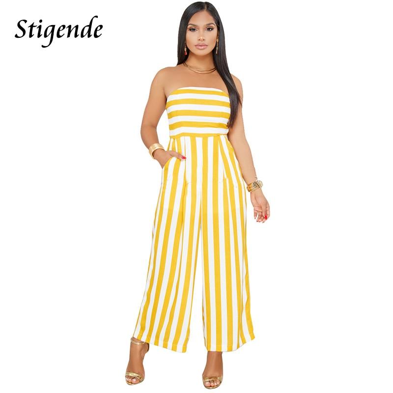 Stigende PLUS SIZE Summer Clothes Women Stripe Jumpsuit Romper Off Shoulder Casual Wide Leg One Piece Pants Strapless Jumpsuit