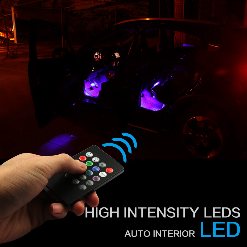 RACBOX LED Strip Foot Light Car Atmosphere Floor Decoration Car Styling Interior Lamp Wireless Remote Control RGB Music 12LEDs tak wai lee 1pcs usb led mini wireless car styling interior light kit car styling source decoration atmosphere lighting 5 colors