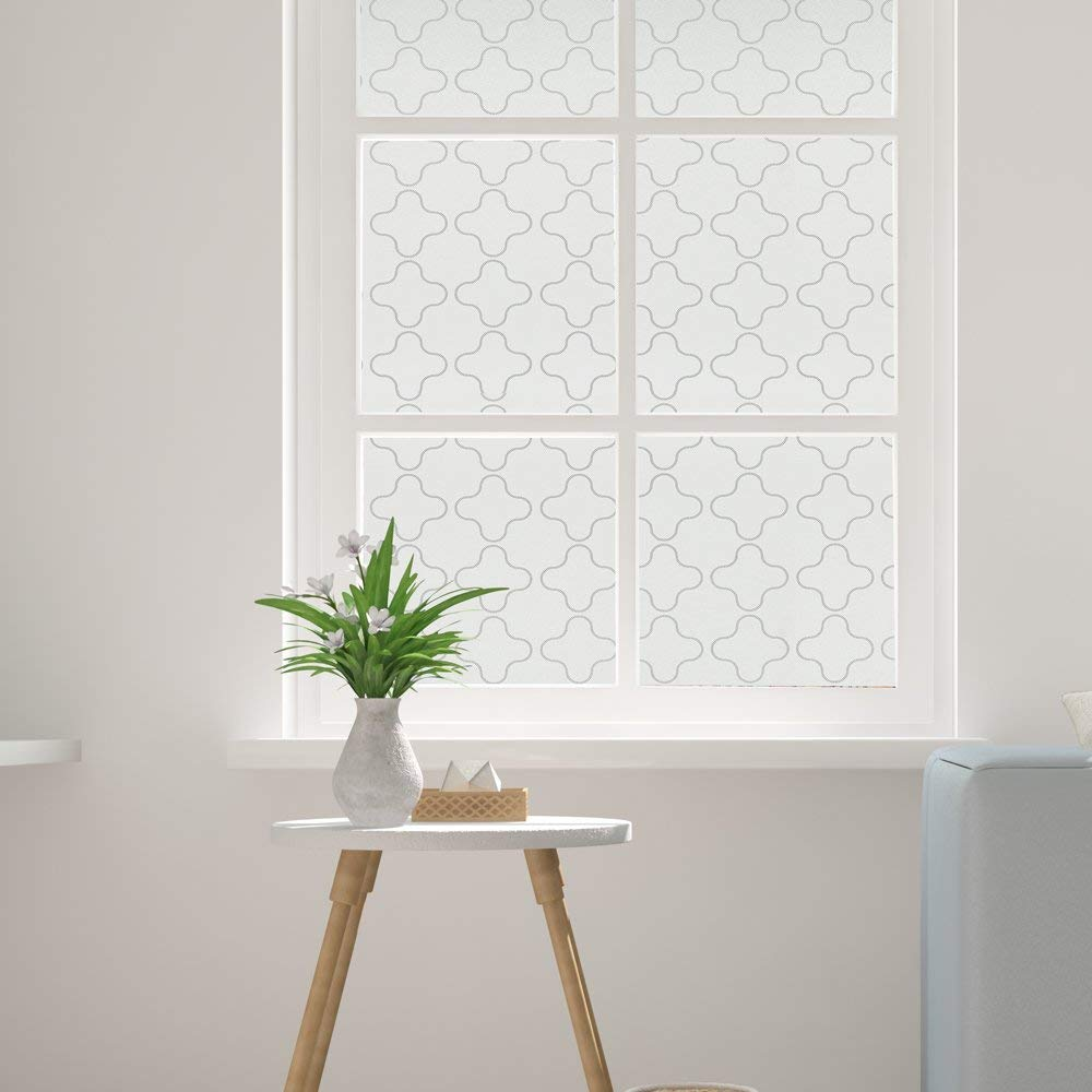 45*200cm Frosted Moroccan Adhesives Window Privacy Cover Pieces Vinyl Film Smooth Glass Surface Tint for home and office