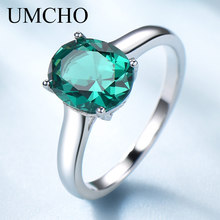 все цены на UMCHO Luxury Nano Emerald Engagement Jewelry Rings for Women Genuine 925 Sterling Silver Oval Gemstone Wedding Ring Fine Jewelry онлайн