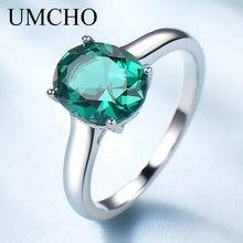 Umcho luxo nano esmeralda noivado anéis de jóias para mulher genuína 925 prata esterlina oval pedra preciosa anel de casamento jóias finas
