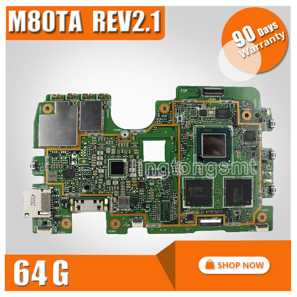Original for ASUS M80TA Rev2.1 Tablet motherboard Logic board System Board VIVOTAB NOTE 8 Logic Board 64G Memory Motherboard dhl ems dias automation 64 245001 rev a multifunctional board a1