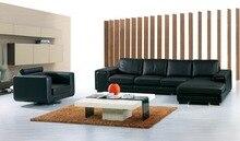 Vaca genuino / real sofás de cuero salón sofá seccional / sofá de la esquina de muebles para el hogar sofá / en forma de L tamaño grande + silla giratoria