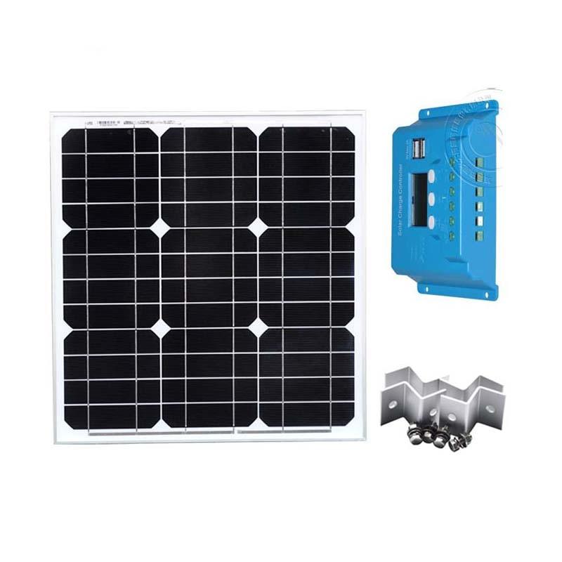 Kit Solar Painel Fotovoltaico 12v 40W Solar Charging Controller 10A 12V/24V PV Cable Z Bracket Boat Yacht Marine Caravan Camping