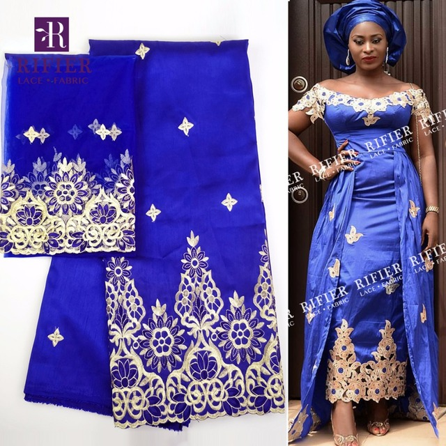 5817d7e5a82760 Royal Blue 5 Yrads And 2 Yrads Style George Lace Fabric Gold Line  Embroidered George Silk