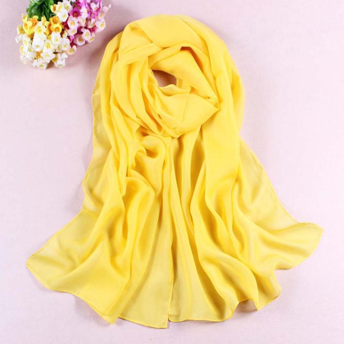 2019 Women Scarf Yellow Fashion Girls Women Long Soft Thin Wrap Lady Shawl Chiffon Scarf Beach Scarves L308