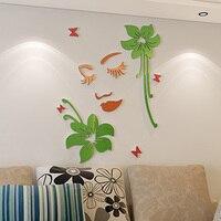 3D Akrilik Duvar Çıkartmaları Çiçekler ve Kız Desenler Ev Dekorasyon DIY Çıkartmalar Bakmak Sol
