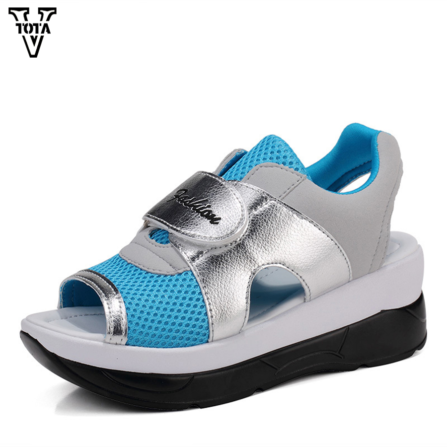 VTOTA Summer Casual Shoes Woman Air Mesh Women's Sandals Lightweight Platform Shoes Sandalias Open Toe Walking Shoes QJ03 vtota 2017 fashion wedges women sandals bling summer shoes woman platform sandalias soft leather open toe casual women shoes r25