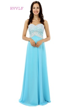 Sky Blue Robe De Soiree 2019 A-line Sweetheart Floor Length Beaded Crystals Sexy Long Prom Dresses Prom Gown Evening Dresses