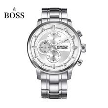 БОСС Германии часы мужчины люксовый бренд пилот серии большой циферблат мужской три полосы часы хронограф дата белый relogio masculino