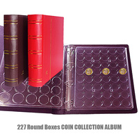 227 Coins 32cmx27cm PU Cover Coin Holder Album Commemorative Currency Protection Transparent Round Box Coins Collecting Album
