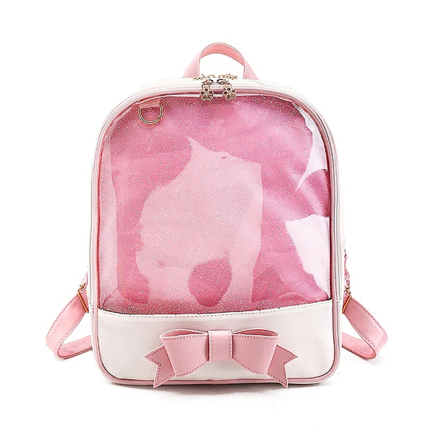 b4aef9d155 ximier 2017 Summer Candy Clear Bow Backpacks Solid Color Cute Girls School  Bags for Girls Transparent PU Leather Women Backpack