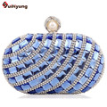 Free Shipping Women Banquet Party Evening Bag Luxury Full Diamond Wedding Bridal Handbag Purse Bling Crystal Clutch With Chain