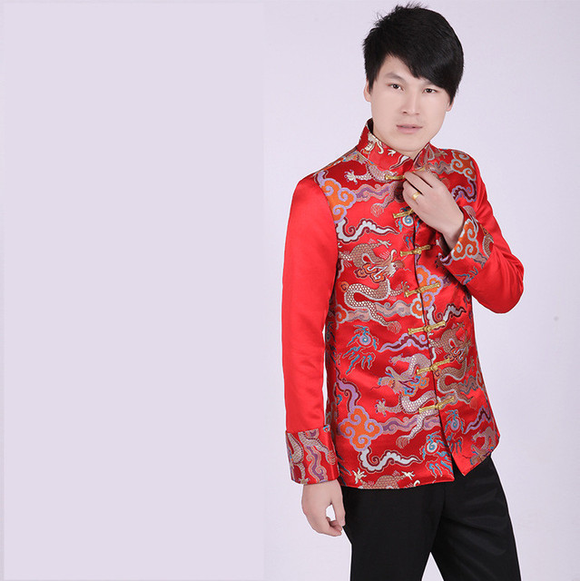 cfbe598141d4b Men's Red Chinese Style Brazer Wedding Tang Costume Brocade Gold Dragon  Suit Jacket -in Suit Jackets from Men's Clothing & Accessories