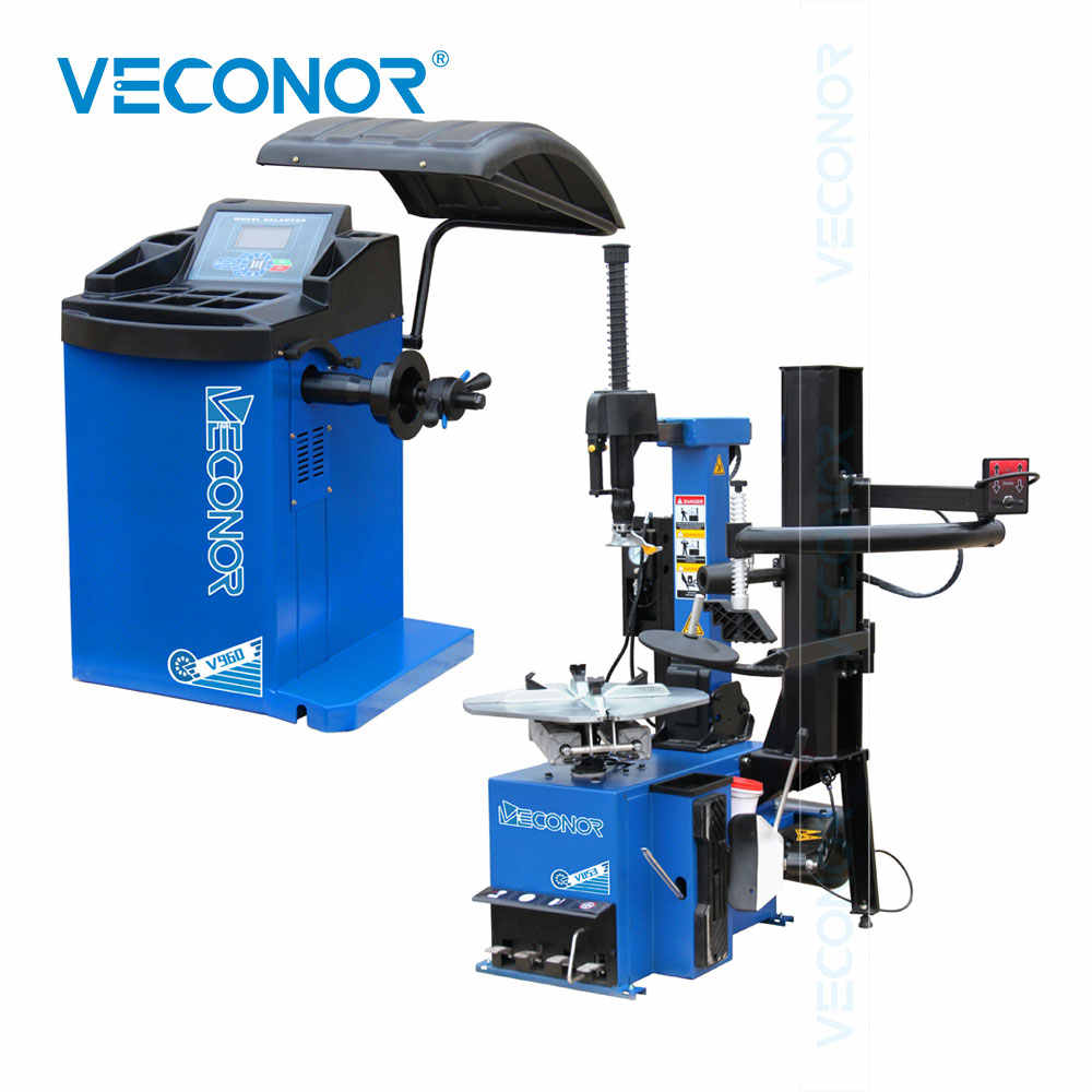 Full Automatic Tilt Column Car Tire Changer Machine and Automatic Car Wheel Balancer Computer with LCD Display Unit Combo