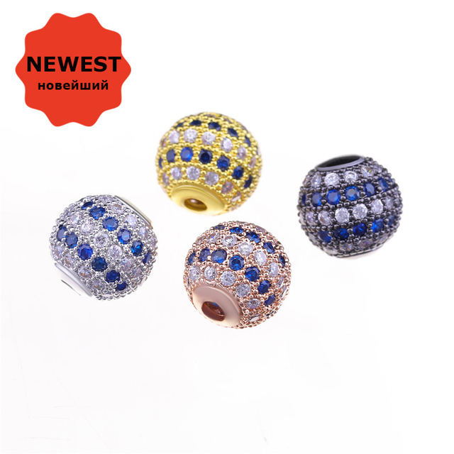 Beads For Jewelry Making 2018 NEW Design 10mm Round Ball Beads Copper Metal  Micro Pave Multicolor Zircon Beads DIY Bracelets abd4fbe4a748