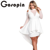Gosopin Plus Size Women Sexy Party Long Sleeve Cold Shoulder Autumn Dresses Women Night Club Dresses