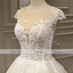 Image 4 - Lover Kiss Vestido De Noiva Luxury Sparkle Wedding Dresse 2020 Lace Beaded Cap Sleeves Princess Bridal Gowns Robe De Mariee