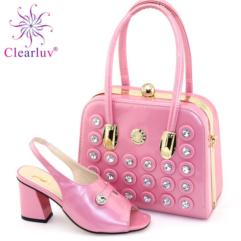 New Design Italian Shoe With Matching Bag Fashion Lattice Pattern Italy Shoe And Bag To Match African Women Shoes For Parties