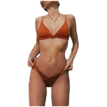 Free Shipping Women Triangle Bikinis Set Brazilian Yellow Pink Orange