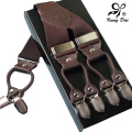 leather alloy 6 clips Width Adjustable male vintage casual suspenders men button commercial western-style trousers braces strap