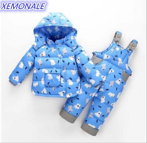 2017 Kids Coats+Overalls Baby Boys Girls Winter Down Coat Children Warm JacketsToddler Snowsuit Outerwear Coat+Pant Clothing Set 2017 winter baby coat kids warm cotton outerwear coats baby clothes infants children outdoors sleeping bag zl910