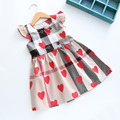 2017 high quality New spring baby Girls dress baby girls plaid clothing toddler kids heart print dress
