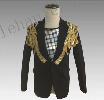 Black clothes men suits designs masculino homme terno stage costumes for singers jacket men gold sequins blazer dance star style